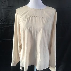 eci New York Long Sleeve Tunic Top Cream Size L